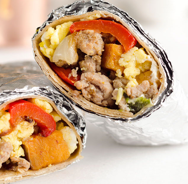 Spicy Turkey Sausage Breakfast Burritos